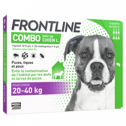 FRONTLINE COMBO SPOT-ON CHIEN L 20-40KG 6 PIPETTES DE 2.68ML