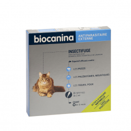 INSECTIFUGE CHAT 2 pipettes Antiparasitaire externe Biocanina